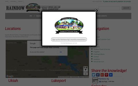 Screenshot of Locations Page rainbowag.com - Locations :: Rainbow Ag - captured Oct. 18, 2018