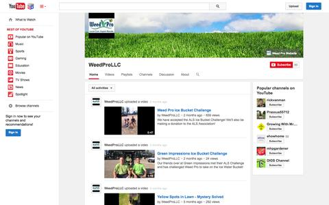 Screenshot of YouTube Page youtube.com - WeedProLLC  - YouTube - captured Nov. 5, 2014