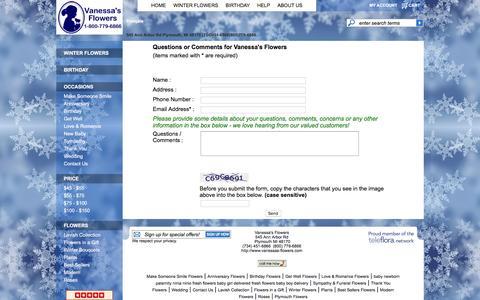 Screenshot of Contact Page vanessas-flowers.com captured Jan. 10, 2016