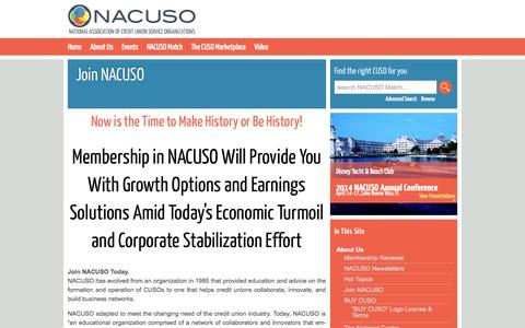 Screenshot of Signup Page nacuso.org - Join NACUSO - NACUSO - captured Sept. 30, 2014