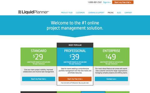 Screenshot of Pricing Page liquidplanner.com - LiquidPlanner Pricing - captured June 16, 2015