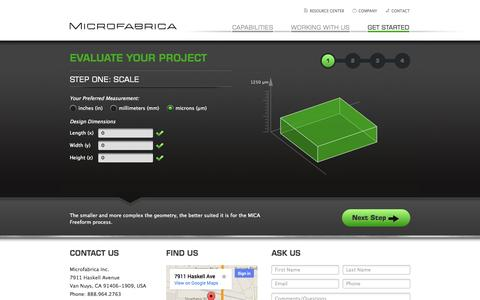 Screenshot of Contact Page microfabrica.com - Get Started | Microfabrica Inc. - captured Sept. 16, 2014