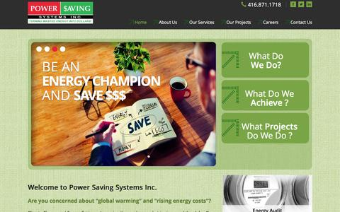 Screenshot of Home Page powersavingsystems.com - Energy Audit, Power Saving Systems Inc, global warming, rising energy costs - captured Nov. 9, 2016