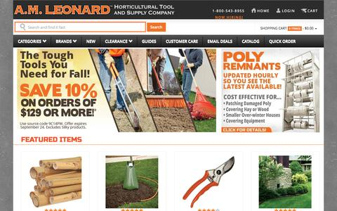 Screenshot of Home Page amleo.com - A.M. Leonard Tools for the Horticultural Industry since 1885. - captured Sept. 19, 2014