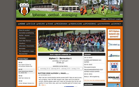 Screenshot of Home Page avvalphen.nl - AVV Alphen l Voetbalvereniging Alphen aan den Rijn - captured Dec. 20, 2015