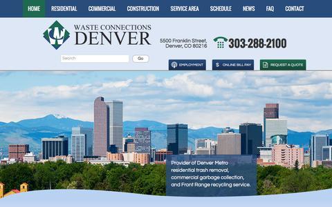 Screenshot of Home Page wcdenver.com - Waste Connections of Colorado – Denver | Front Range Trash & Recycling - captured July 12, 2017