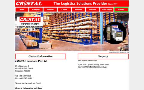Screenshot of Contact Page cristalsolutions.com - CRiSTAL #PL Warehouse Management System since 1999 - captured Oct. 11, 2016
