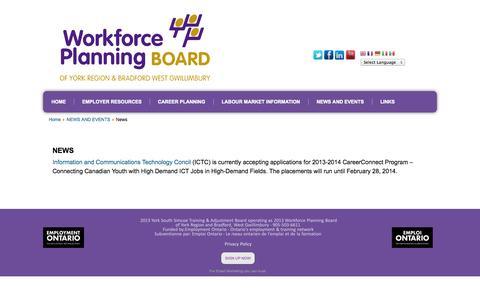 Screenshot of Press Page wpboard.ca - News  - Workforce Planning Board  Of York Region And Bradford West Gwillimbury, Ontario - captured Oct. 26, 2014