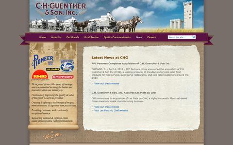 Screenshot of Press Page chg.com - CH Guenther   » News - captured Sept. 25, 2018