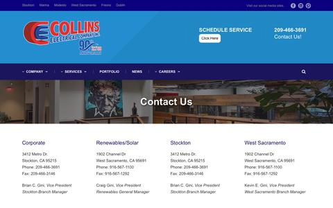 Screenshot of Contact Page Locations Page collinselectric.com - Contact Us – Collins Electrical - captured Sept. 28, 2018
