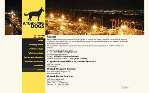 Screenshot of Contact Page k10workingdogs.com - Contact | K10 Working Dogs – Always one step ahead in K9 solutions. - captured Sept. 30, 2014