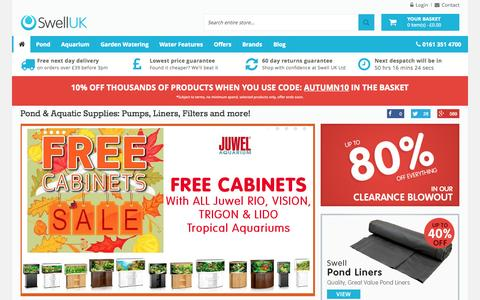 Screenshot of Home Page swelluk.com - Aquarium, Fish Tank & Pond Supplies | Swell UK Ltd - captured Oct. 24, 2015