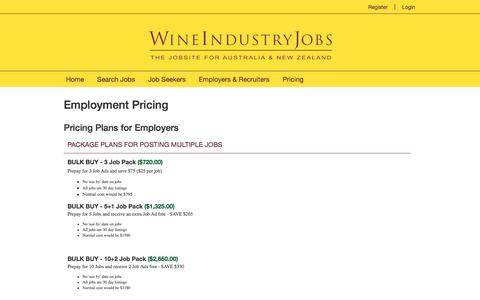 Screenshot of Pricing Page wineindustryjobs.com.au - Wine Industry Jobs - captured Aug. 13, 2016