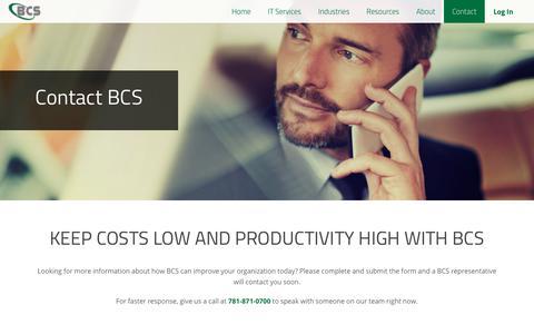 Screenshot of Contact Page bcscallprocessing.com - Contact - captured Oct. 9, 2017