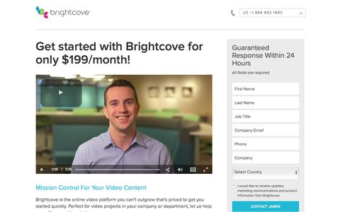 Screenshot of Landing Page brightcove.com - Brightcove | Get started with Brightcove for only $199/month! - captured Oct. 27, 2016