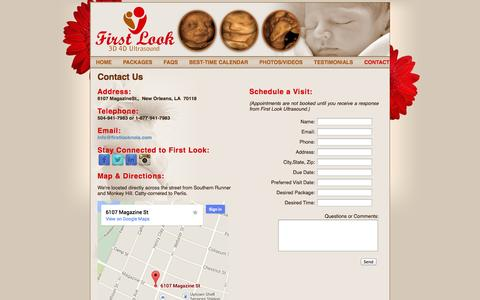 Screenshot of Contact Page Maps & Directions Page firstlooknola.com - 4D Ultrasound Video 3D Ultrasound Photo, New Orleans LA - captured Oct. 24, 2014