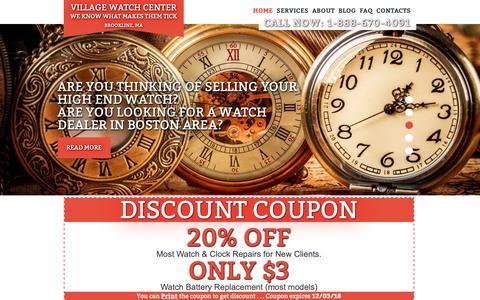Screenshot of Home Page watch-repair-boston.com - Boston Clock and Watch Repair.Village Watch Center - captured Nov. 2, 2018