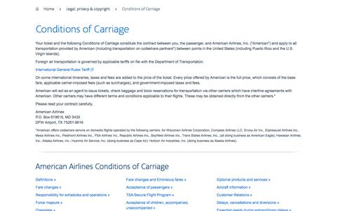 Conditions of Carriage − Support − American Airlines