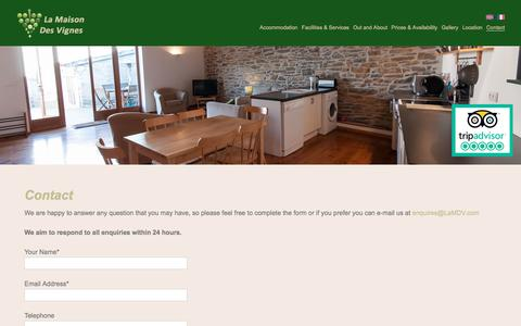 Screenshot of Contact Page lamdv.com - Contact - La Maison Des Vignes - captured Sept. 25, 2018