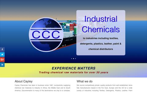 Screenshot of Home Page About Page Contact Page Products Page cayley.co.uk - Cayley Chemicals, International Chemical Traders - captured Sept. 25, 2018