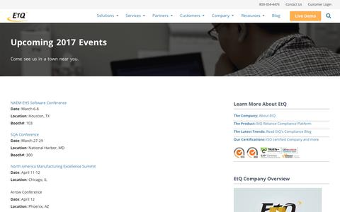 QMS Industry Upcoming Events – 2017 by EtQ