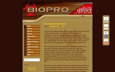 Screenshot of Blog bioprollc.com - Biopro Blog - captured Sept. 30, 2014