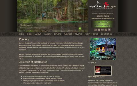Screenshot of Privacy Page narrowsescape.com.au - Narrows Escape Rainforest Retreat   Privacy - captured Oct. 9, 2014