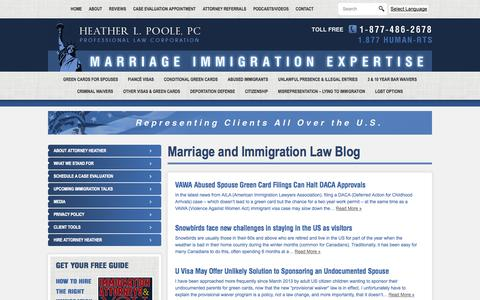 Screenshot of Blog humanrightsattorney.com - Marriage and Immigration Law Blog | HEATHER L POOLE PC - Immigration Law - captured Oct. 1, 2014