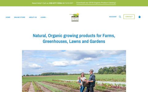 Screenshot of Home Page ohioearthfood.com - Organic Products for Lawn, Garden and Farm - captured Oct. 19, 2018