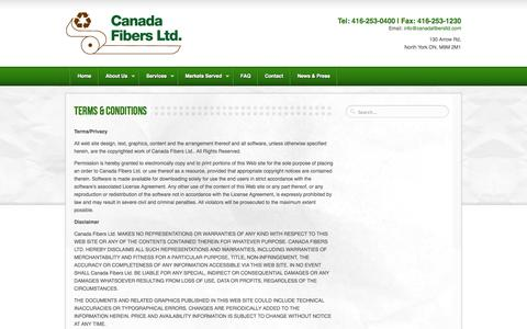 Screenshot of Terms Page canadafibersltd.com - » Terms & Conditions » Canada Fibers - captured Sept. 27, 2014