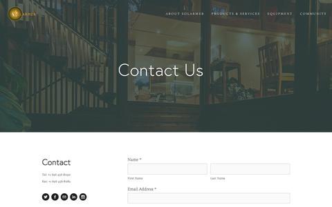 Screenshot of Contact Page solarmer.com - Contact — Solarmer - captured Jan. 22, 2016