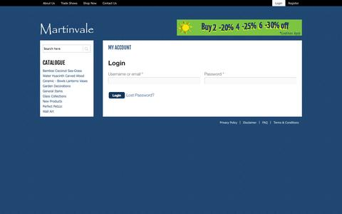 Screenshot of Login Page martinvale.com.au - My Account | Martinvale - captured Sept. 30, 2014