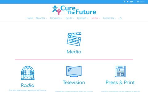 Screenshot of Press Page curethefuture.org - Media - Cure The Future - captured Sept. 25, 2018