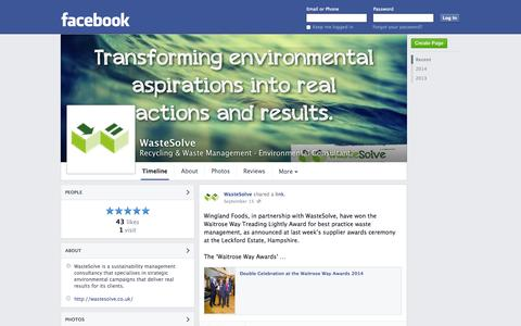 Screenshot of Facebook Page facebook.com - WasteSolve - Luton - Recycling & Waste Management, Environmental Consultant | Facebook - captured Oct. 26, 2014
