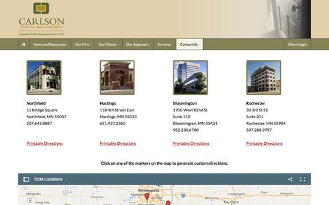 Screenshot of Locations Page Maps & Directions Page carlsoncap.com - Locations - Carlson Capital Management - captured July 15, 2017