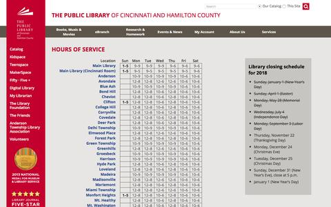 Screenshot of Hours Page cincinnatilibrary.org - Hours of Service - captured Sept. 24, 2018