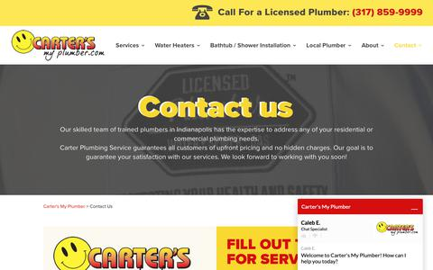 Screenshot of Contact Page cartersmyplumber.com - Contact Us at Carter's My Plumber for plumbing service - captured Sept. 27, 2018