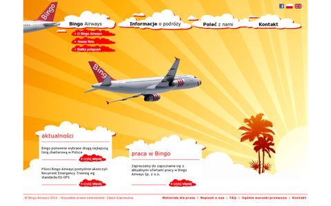 Screenshot of Home Page bingoairways.com captured July 11, 2014