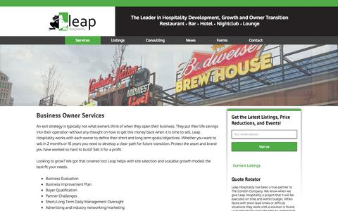 Screenshot of Services Page leaphospitality.com - Business Owner Services - captured Oct. 28, 2014