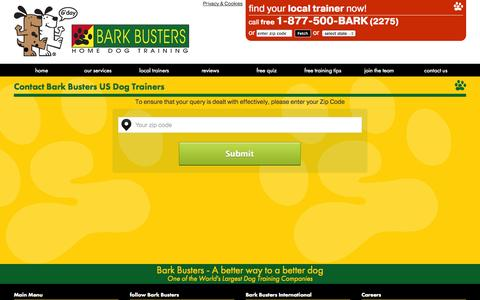Screenshot of Contact Page barkbusters.com - Contact us - Bark Busters Home Dog Training. - captured Nov. 3, 2014