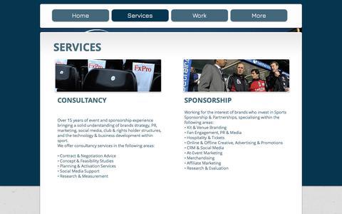 Screenshot of Services Page sports-bureau.com - SPORTS BUREAU - SPORTS SPONSORSHIP AGENCY AND CONSULTANTS - captured June 15, 2017