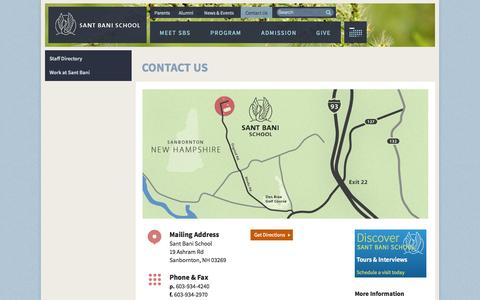 Screenshot of Contact Page santbani.org - Contact Us | Sant Bani School - captured Oct. 6, 2014