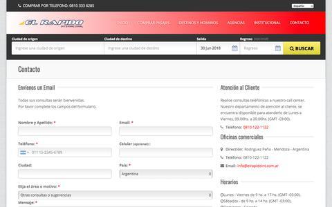 Screenshot of Contact Page elrapidoint.com.ar - Contáctenos, número de teléfono y mail - El Rápido Internacional - captured June 30, 2018