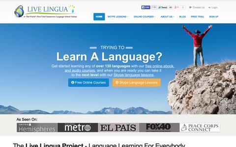 Screenshot of Home Page livelingua.com - LIVE LINGUA | Online Language School - Learn 130+ languages - captured July 23, 2015