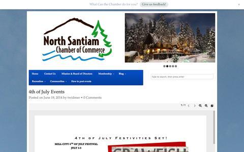 Screenshot of Blog nschamber.org - Blog - North Santiam Chamber of Commerce - captured Sept. 23, 2014