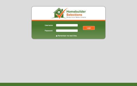 Screenshot of Login Page homebuilderselections.com - Homebuilder Selections   Login - captured July 21, 2018