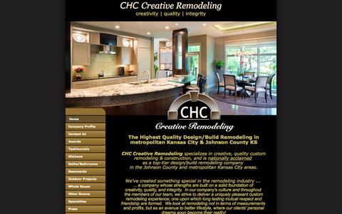 Screenshot of Home Page chccr.com - Custom Quality Whole House, Home, Kitchen, Bathroom, Home Theater & Basement Remodeling in Kansas City - captured Oct. 1, 2014