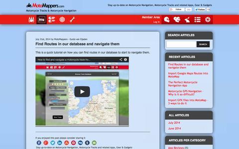 Screenshot of Blog motomappers.com - MotoMappers Blog - - captured Oct. 7, 2014