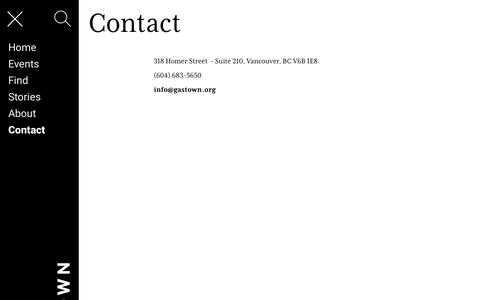 Screenshot of Contact Page gastown.org - Contact – Gastown - captured Sept. 27, 2018
