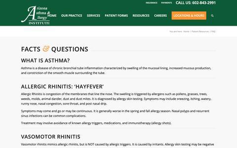Screenshot of FAQ Page azsneeze.com - FAQ – Arizona Asthma and Allergy Institute - captured Oct. 2, 2018